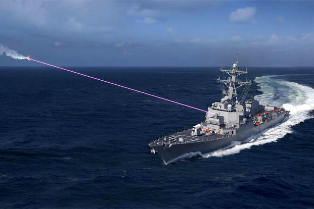 Artist's rendering of the Navy's HELIOS shipboard laser weapon. (Image courtesy of Lockheed Martin)