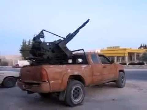 Syrian Antiaircraft Gun Truck in Action