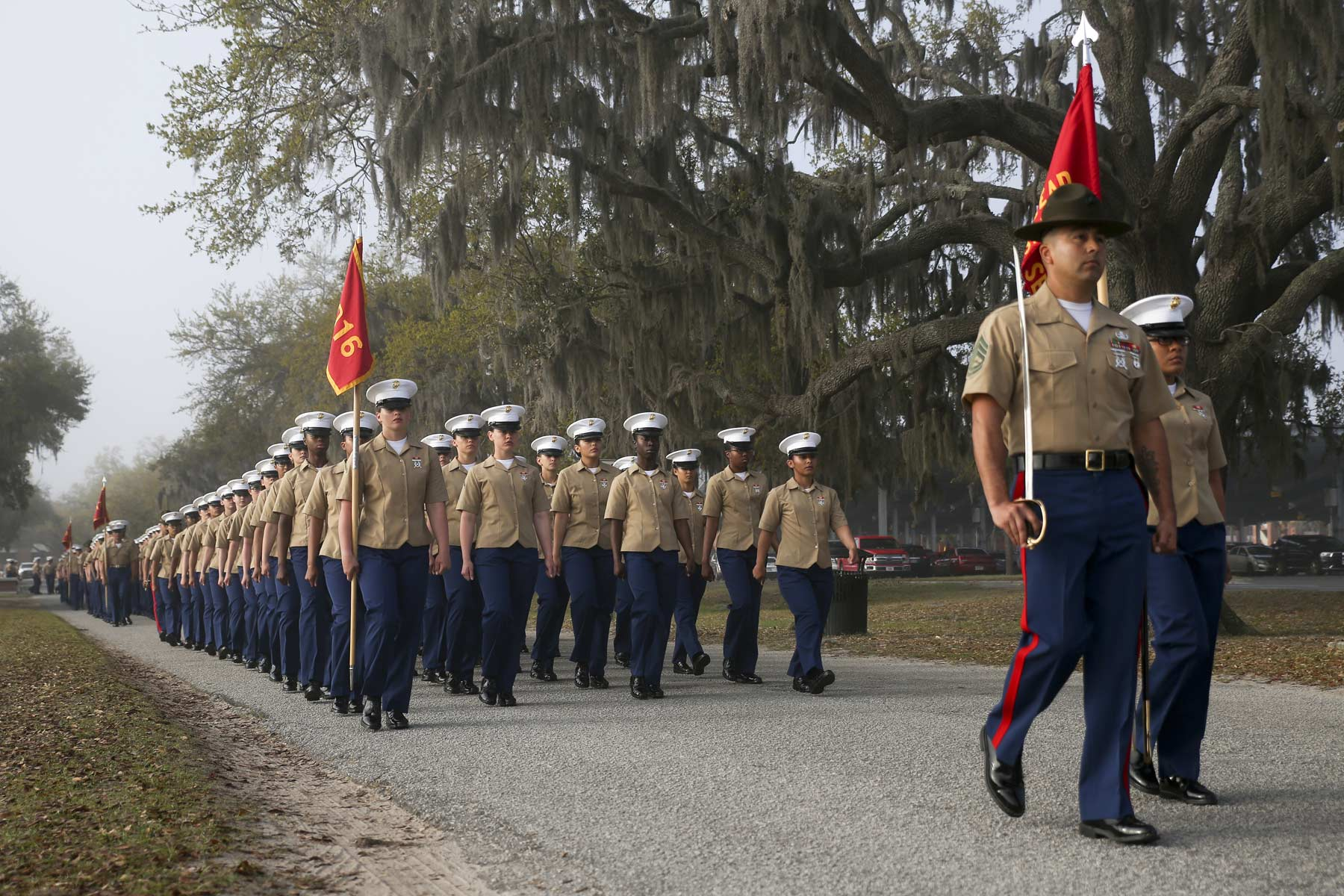 First Marine Co Ed Boot Camp Company Graduates At Parris Island