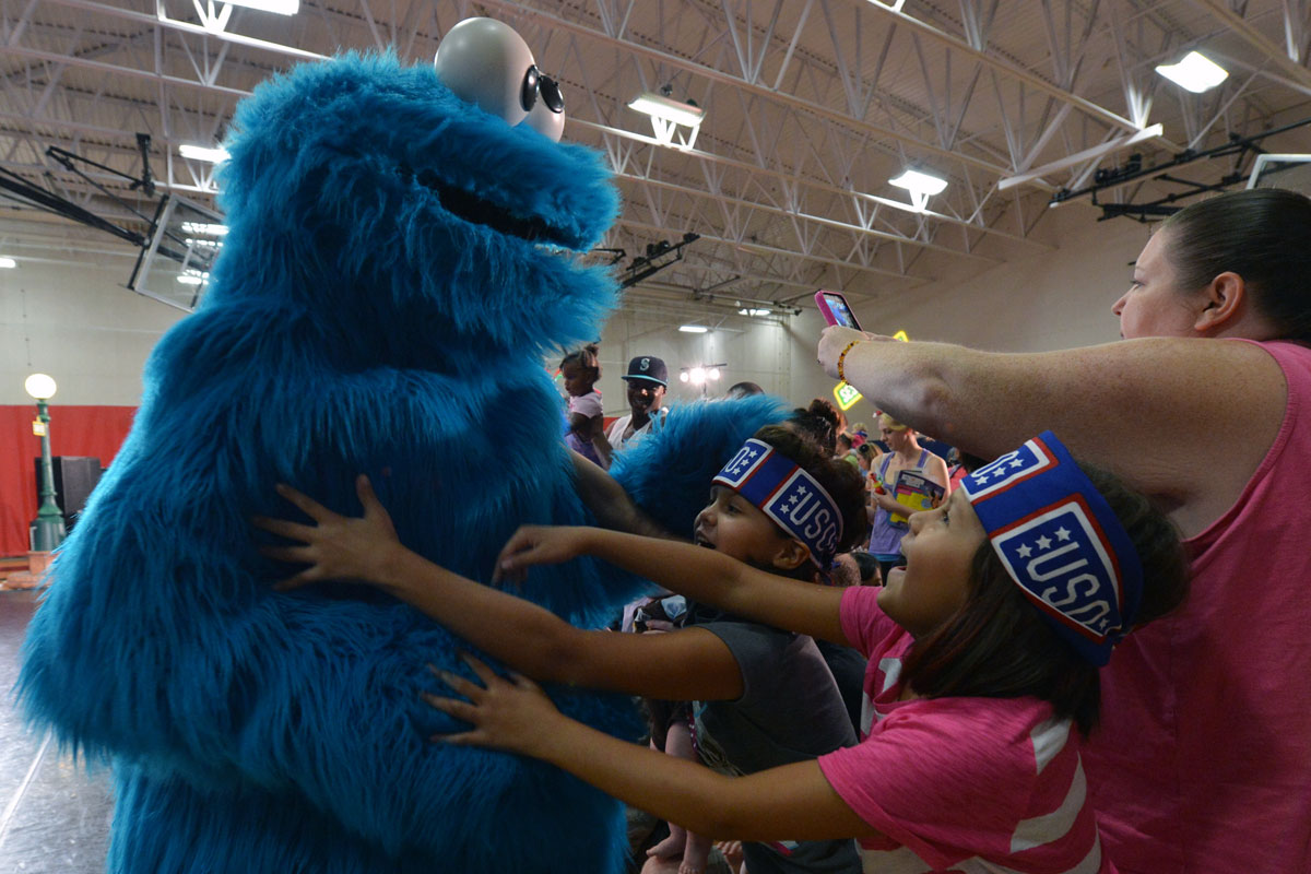 Cookie Monster Interacts with Military Families