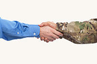 Altria employee and veteran shaking hands
