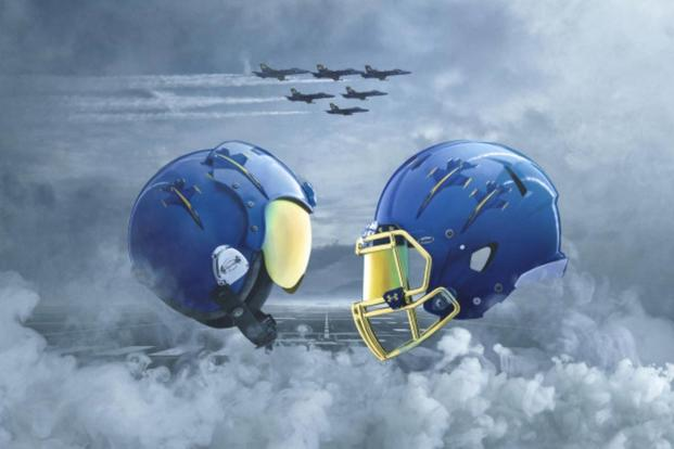 Navy will wear hand-painted helmets depicting a Delta Formation, and a chrome facemask to mimic the visor of the Blue Angel pilots. (Navy image)