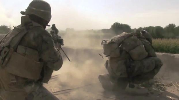 Marines with 1st Battalion, 6th Marine Regiment establish a patrol base in an abandoned compound in Afghanistan on April 10, 2017. (screen grab from U.S. Defense Department video)