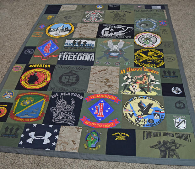 Example of a completed military uniform quilt