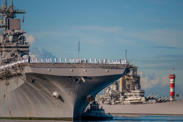 USS Wasp (LHD 1) arrives at Joint Base Pearl Harbor-Hickam for a schedule port visit, Dec. 28, 2017. (U.S. Navy photo/Corwin M. Colbert)