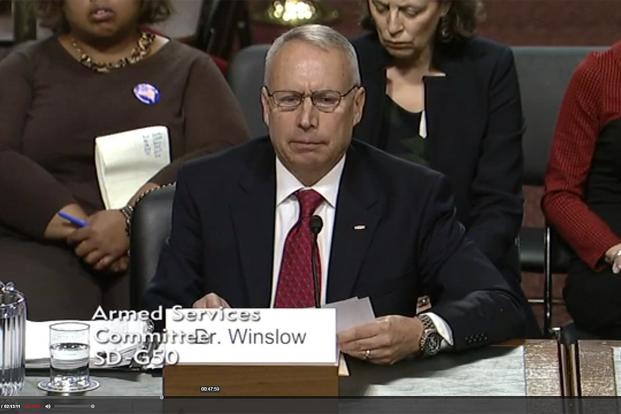 Retired Air Force Col. Dean L. Winslow (Screen grab from November 7, 2017 Senate Armed Service Committee hearing)