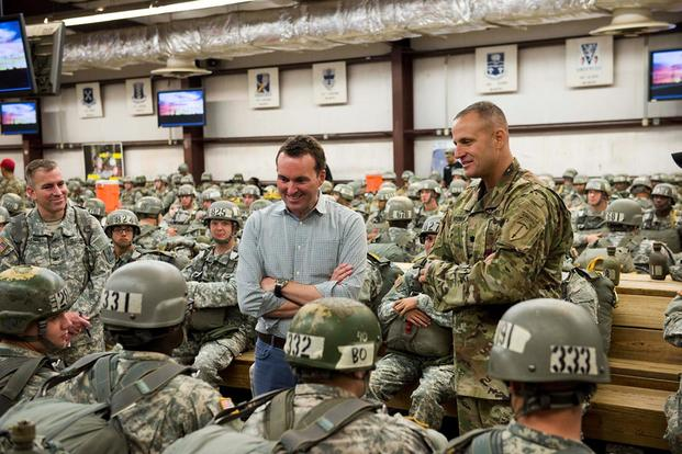 FILE -- Then Secretary of the Army, Eric Fanning, visits and observes training at Fort Benning and the Maneuver Center of Excellence, September 29, 2015. (U.S. Army/Patrick A. Albright)