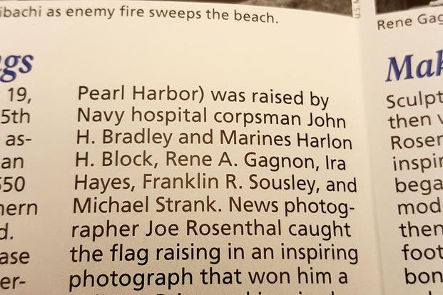"A National Park Service brochure incorrectly lists ""Navy hospital corpsman John H. Bradley"" as a participant in the historic flag-raising on Iwo Jima. (Military.com photo/Richard Sisk)"