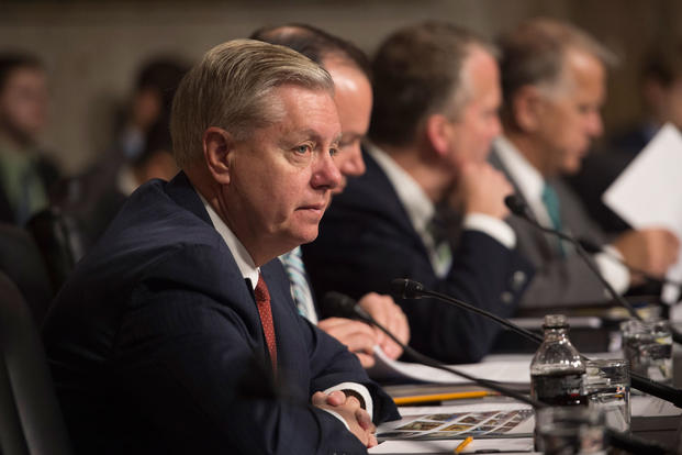 South Carolina Senator Lindsey Graham listens as Secretary of Defense Ash Carter testifies at the Senate Armed Services Committee in Washington D.C., March 17, 2015. (DoD photo/Senior Master Sgt. Adrian Cadiz)