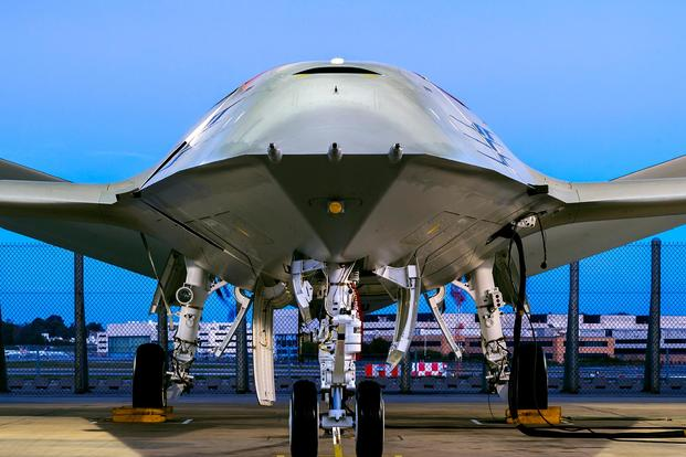 Boeing offered a public peek at its design for what the Navy is calling the MQ-25 Stingray: an unmanned aircraft system that can offer in-air refueling to the service's fighters, including the F-35C. (Boeing photo)