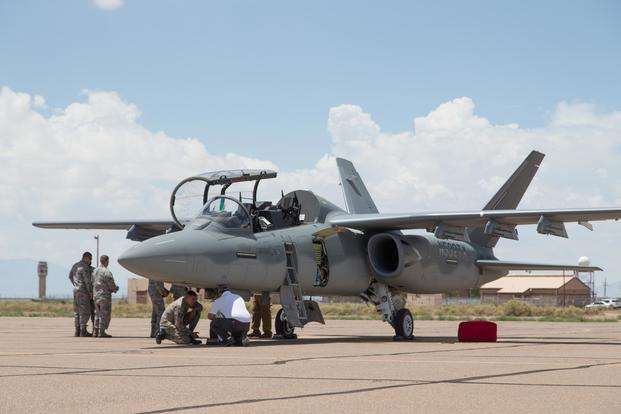 A Textron Scorpion experimental aircraft sits at Holloman AFB. The Scorpion is participating in the U.S. Air Force Light Attack Experiment (OA-X). (U.S. Air Force /Christopher Okula)