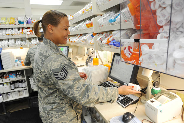 Air Force Pharmacist fills prescription
