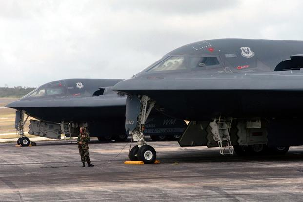 FILE PHOTO -- A Senior Airman prepares to launch a B-2 Spirit bomber during a mission at Andersen Air Force Base, Guam. (U.S. Air Force photo/Master Sgt. Val Gempis)