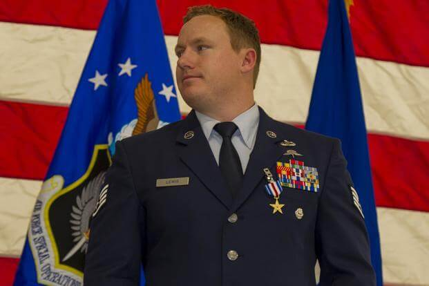U.S. Air Force Staff Sgt. Christopher Lewis, a combat controller with the 23rd Special Tactics Squadron, stands after receiving the Silver Star from USAF Lt. Gen. Brad Webb, during a ceremony at Hurlburt Field, Florida, Jan. 19, 2018. (U.S. Air Force/Staff Sgt. Victor J. Caputo)