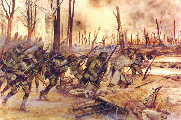 Harlem Hellfighters in action. After being detached and seconded to the French, they wore the Adrian helmet, while retaining the rest of their U.S. uniform. Seen here at Séchault, France on 29 September 1918, during the Meuse-Argonne Offensive, they wear the U.S. Army-issue Brodie helmet, correct for that time. (Image: U.S. Army)