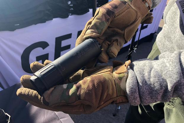 OSS hopes its new Helix 556 suppressor, shown here, meets Marine Corps approval. Photo by Hope Hodge Seck/Military.com