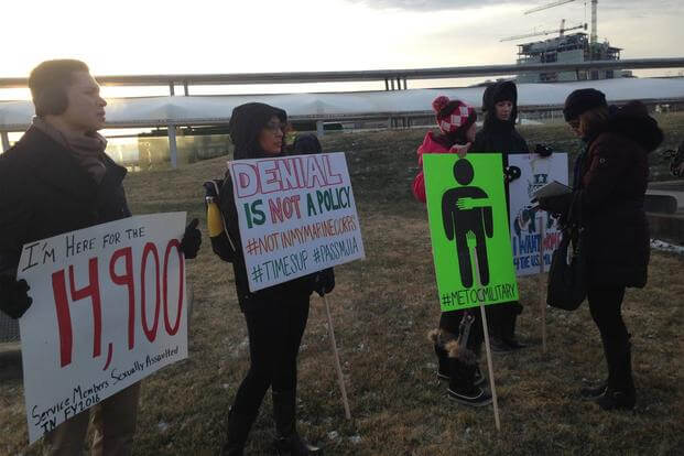 #MeToo demonstration against sexual harassment and sexual assault in the military organized by the Service Women's Action Network‎ at the Pentagon, January 8, 2018. (Service Women's Action Network/Facebook)