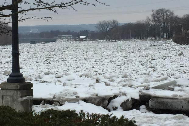 The threat of ice jams like this one on the Mohawk River prompted the New York State Division of Homeland Security to ask the New York National Guard to put Soldiers and Airmen on state active duty. (NY National Guard/ Command Chief Master Sgt. Shawn Peno)