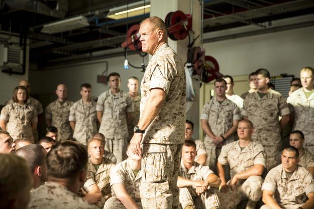 FILE -- Lt. Gen. Robert Neller visits Naval Air Station Sigonella to meet service members with the second iteration of SP-MAGTF Africa 14, Aug. 9, 2014. (U.S. Marine Corps/Cpl. Shawn Valosin)