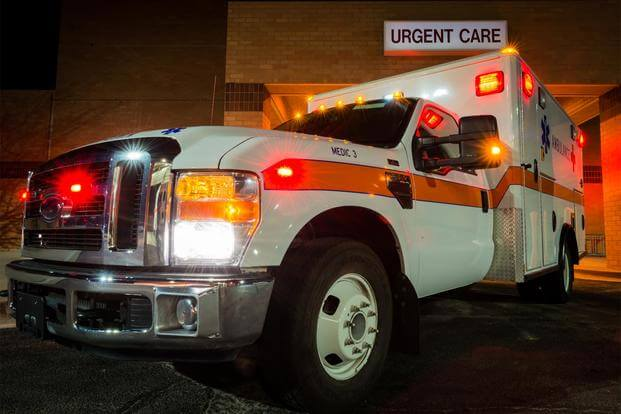 An ambulance sits outside the 366th Medical Group urgent care center at Mountain Home Air Force Base, Idaho, Feb. 19, 2015. (U.S. Air Force/Airman Connor J Marth)