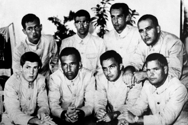"The infamous ""finger"" photo that was taken as North Korean propaganda.  (USS Pueblo Veterans Association)"