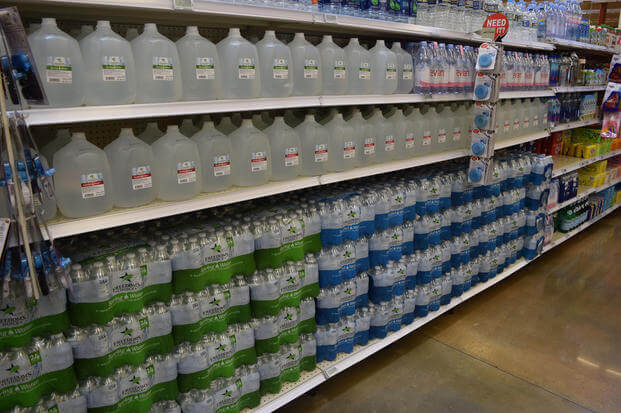 The military commissary's new Freedom's Choice brand includes a bottled water selection. (Defense Commissary Agency)