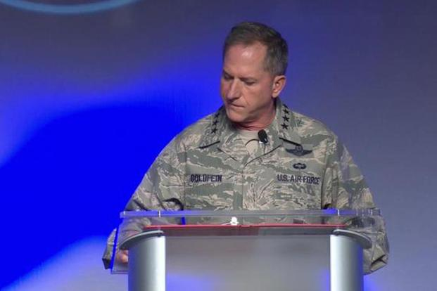 Gen. David Goldfein delivers his presentation on Air Force Innovation at the 2018 Air Warfare Symposium in Orlando on Feb. 23, 2018. Screen capture from a Defense Media Activity video