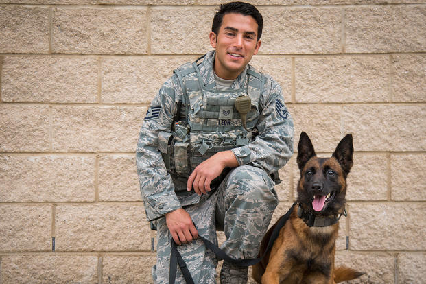 Staff Sgt. Radames Leon and Pako are a 96th Security Forces Squadron military working dog team at Eglin Air Force Base, Florida. (U.S. Air Force)
