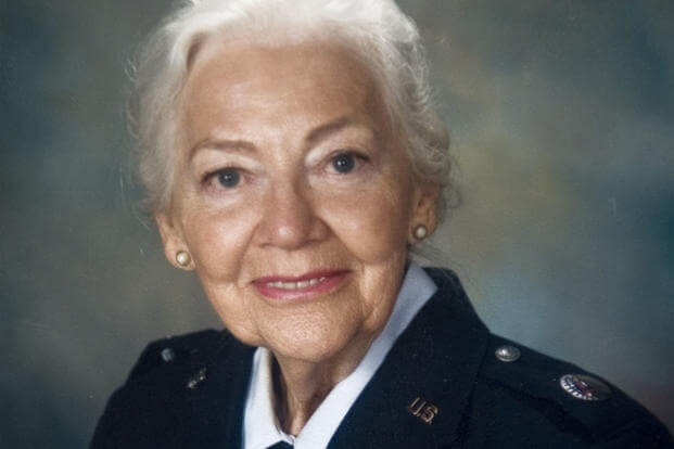 Betty Blake, 90, wears her Women's Auxiliary Ferrying Squadron uniform. (Courtesy photo)