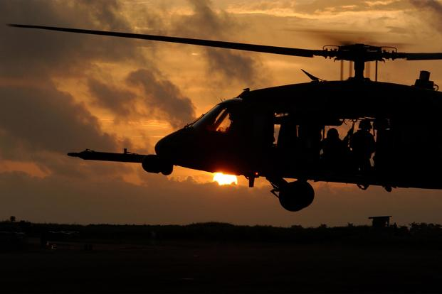 FILE PHOTO -- An HH-60G Pave Hawk helicopter prepares to land after training. (U. S. Air Force/Tech. Sgt. Justin D. Pyle)