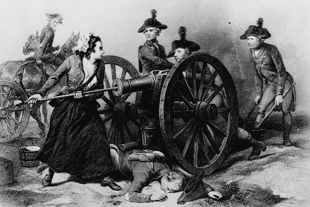Molly Pitcher at the Battle of Monmouth, engraving by J.C. Armytage, c. 1859