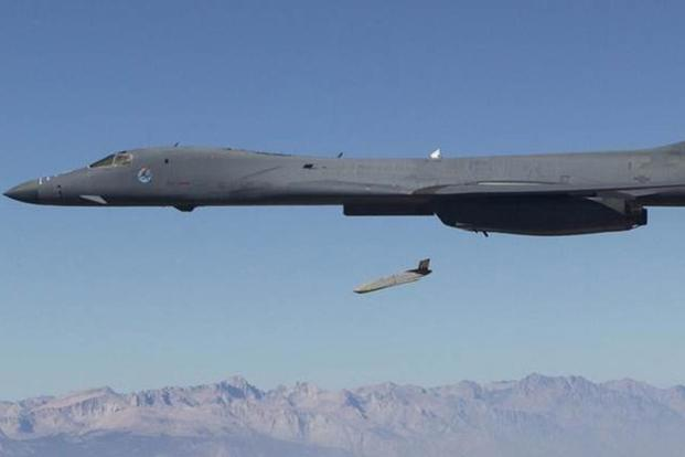 A Joint Air-to-Surface Standoff Missile - Extended Range (JASSM-ER) is released from B-1 bomber. (USAF Courtesy Photo)