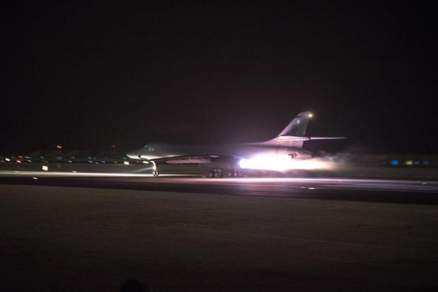 A 34th Expeditionary Bomb Squadron B-1B Lancer deployed to the 379th Air Expeditionary Wing prepares to launch a strike mission from Al Udeid AIr Base, Qatar, April 13, 2018 in support of the multinational response to Syria's recent use of chemical weapons. (U.S. Air Force/Master Sgt. Phil Speck)