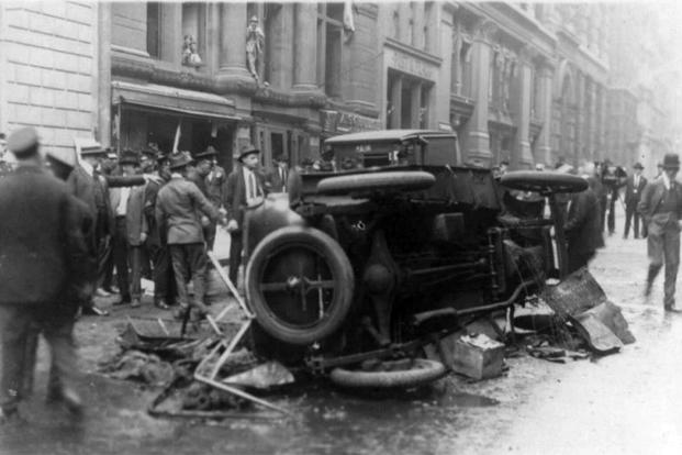 Aftermath of bombing in the Wall Street financial district in New York on September 16, 1920. (Library of Congress)