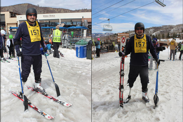Army veteran Bill Caywood on the slopes of Snowmass, Colorado during the DAV Winter Sports Clinic
