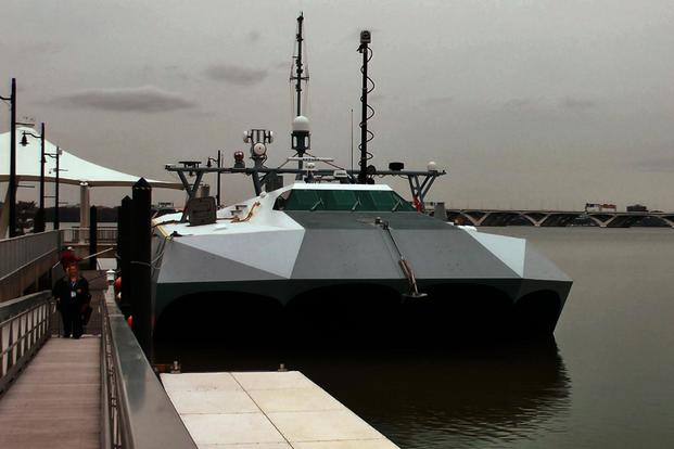 The Navy's high-speed experimental boat Stiletto is seen here in a screen grab from a video taken at the Sea-Air-Space Expo, National Harbor, Md., April 9, 2018. (Ho Lin/Military.com)