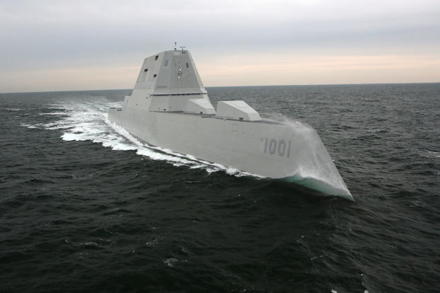 The Navy's next generation destroyer, the future USS Michael Monsoor (DDG 1001), successfully completed acceptance. (U.S. Navy photo courtesy of Bath Iron Works)