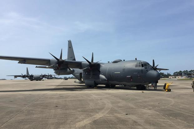 The Air Force's latest AC-130J Ghostrider gunship sits on the flightline at Hurlburt Field, Fla. (Oriana Pawlyk/Military.com)