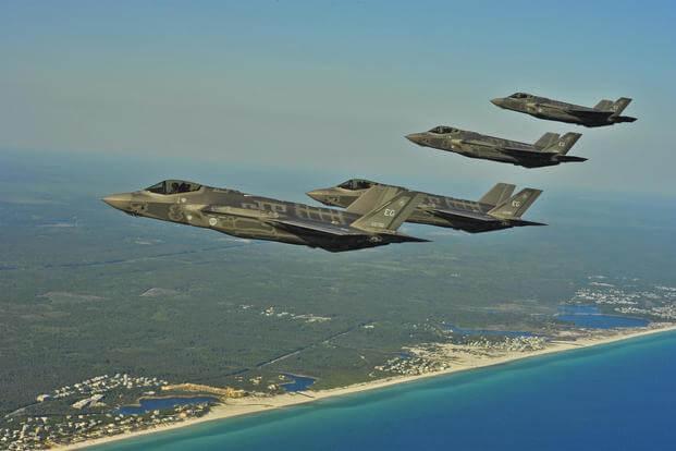 F-35A Lightning IIs from the 58th Fighter Squadron, 33rd Fighter Wing, Eglin AFB, Fla., perform an aerial refueling mission May 14, 2013, off the coast of northwest Florida. (U.S. Air Force/Master Sgt. Donald R. Allen)