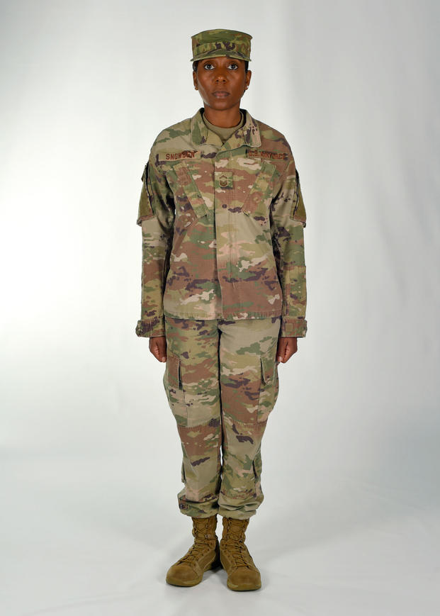 The U.S. Air Force is adopting the Army's Operational Camouflage Pattern as its new combat uniform and will begin incrementally phasing it in beginning Oct. 1.  The OCP's colors vary by location -- desert vs. forest, for example. It generally has a four-to-six color palette incorporating greens, beiges, browns, tans and greys. Courtesy of Air Force