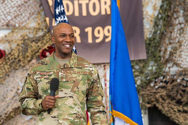 Chief Master Sergeant of the Air Force Kaleth O. Wright talks to members of Cannon Air Force Base, N.M., during an all call Mar. 23, 2018. Wright is wearing the Operational Camouflage Pattern uniform. (U.S. Air Force photo/Michael Washburn)