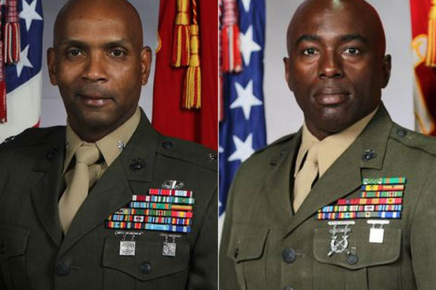 "The Marines fired Lt. Col. Rafael A. Candelario II (left) and Sgt. Maj. Marcus A. Chestnut (right), formerly of 3rd Light Armored Reconnaissance Battalion. Candelario, 47, was the commander of the ""Wolfpack"" and Chestnut, 45, his senior enlisted Marine. (U.S. Marine Corps photos)"