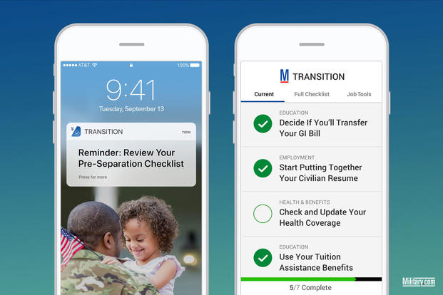 The Military.com Transition app includes checklists and helpful reminders. (Military.com)