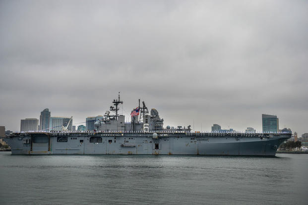 The amphibious assault ship USS Bonhomme Richard (LHD 6) arrives in San Diego, May 8, 2018. (U.S. Navy photo/Nancy C. diBenedetto)