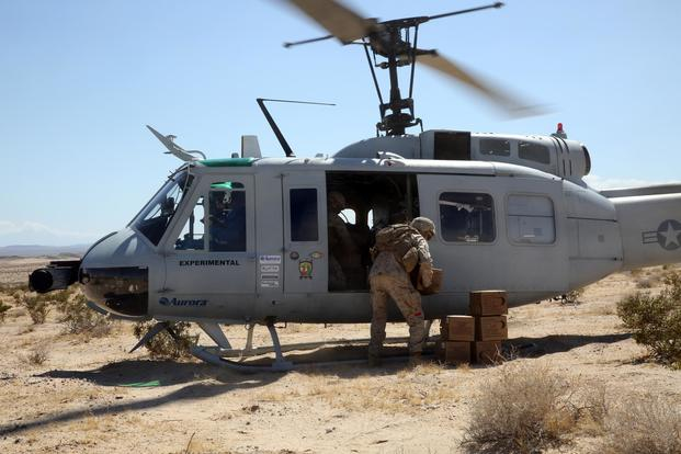 AACUS provides a material resupply for Marines assigned to Combat Logistics Battalion 8, based at Marine Corps Base Camp Lejeune, NC at Marine Air Ground Combat Center, Twentynine Palms, CA, May 14, 2018. (Matt Lyman/U.S. Marine Corps)