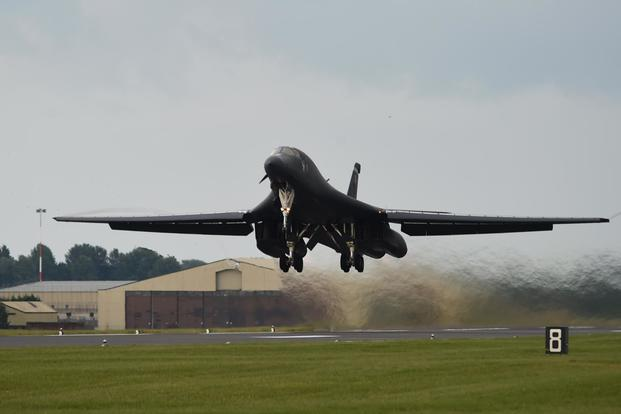 A U.S. Air Force B-1B Lancer assigned to the 345th Expeditionary Bomb Squadron at Dyess Air Force Base, Texas, takes off during exercise Trojan Footprint at RAF Fairford, England, June 1, 2018. (U.S. Air Force/Senior Airman Emily Copeland)