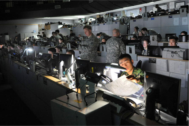 U.S. and and South Korean service members participate in the 2010 version of Exercise Ulchi Freedom Guardian at Osan Air Base, South Korea. This year's exercise -- scheduled to begin in late August -- has been cancelled. (US Air Force photo)