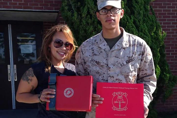 Yadira Fuentes-Paz and her son, a member of the U.S. Marine Corps. (Courtesy of Felix Vega)