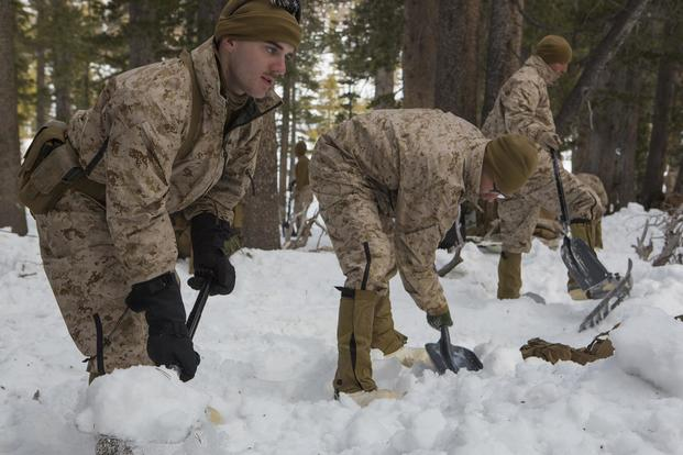 U.S. Marines with Combat Logistics Battalion 26, 2nd Marine Logistics Group, dig their bivouac sites, using the snow for cover, at the U.S. Marine Corps Mountain Warfare Training Center (MWTC) Bridgeport, Calif., Jan. 20, 2015. (U.S. Marine Corps/Sgt. Anthony L. Ortiz)