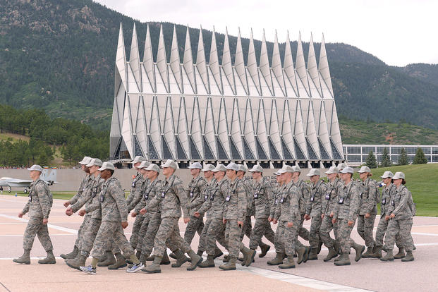 Basic cadets march on the U.S. Air Force Academy's terrazzo in Colorado Springs, Colo., July 12, 2017. (U.S. Air Force photo/Darcie Ibidapo)